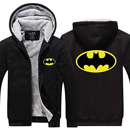 LIFEKONGA Männer verdicken warm halten Hoodie Batman Logo Luminous Zipper Cardigan-Jacken-Mantel 100% Baumwolle mit Wolle gefüttert,Schwarz,XL