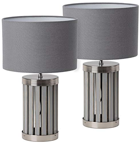 BRUBAKER 2er Set Tisch- oder Nachttischlampen - 41 cm Höhe - Fuß aus Holz/Metall Grau - Textilschirm Grau