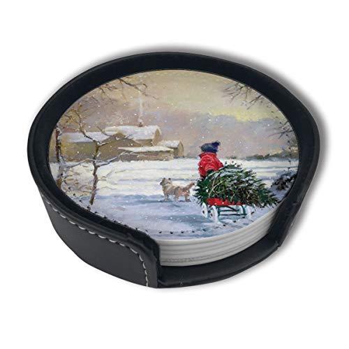 BJAMAJ Untersetzer mit Weihnachtsmotiv und Schlitten aus hochwertigem PU-Leder (6 Stück)