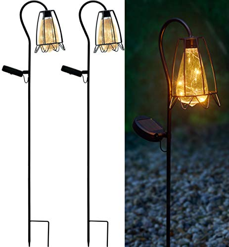Solarlampen für Außen, 2er Pack Retro Gartenstecker aus Metall inkl. Leuchtmittel in Blumen-Optik, warm-weiß beleuchtet (Blume)