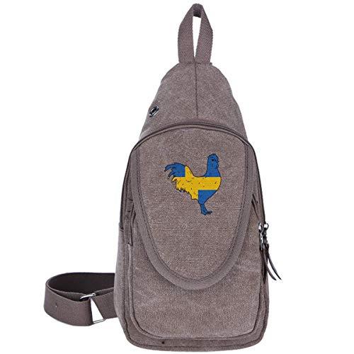 Hahn mit der schwedischen Flaggen-1 Canvas Brusttasche für Trekking Outdoor Sport Casual Rucksack für Jungen Mädchen Kaffee