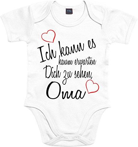 Mister Merchandise Baby Body Ich kann es kaum erwarten Dich zu sehen Oma Strampler liebevoll bedruckt Wiedersehen Weg Reise Weiß, 0-3