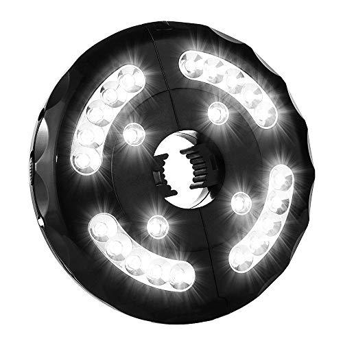 Sonnenschirm LED Beleuchtung 3 Modi Sonnenschirmbeleuchtung 24 Leds Schirmlampe Batterietrieben LED Lampe Drahtlose Nachtlicht für Garten Strand Außenleuchten BBQ Camping, Weißes Licht (Schwarz)