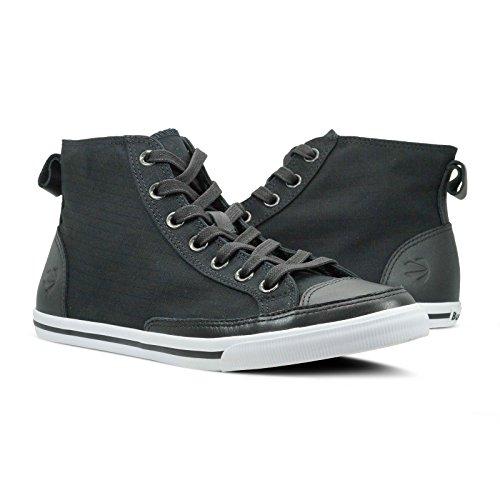 Burnetie Men's Black Solid Plaid High Top Vintage Sneaker (11.5 M US Men)