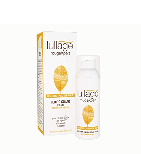 Lullage rougeXpert Filtro Solar Facial Anti-Rojeces Calma Irritaciones Ayuda a Cuidar las Pieles más Sensibles de los Efectos del Sol SPF 50+ | UVB | UVA | IR, 50 ml