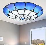 Plafoniera a LED in stile Tiffany in vetro colorato blu fatto a mano con montaggio a soffitto Lampade a soffitto a LED per camera da letto Apparecchio di illuminazione, chip LED,Whitelight,40cm