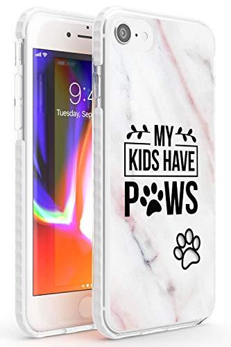 Miei Figli Hanno Paws Dog Citazione Impact Cover per iPhone 7 Plus TPU Protettivo Phone Leggero con Animali Tendenza Marmo Carina Cani