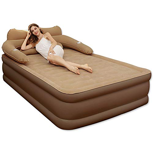 SNOWER King Size Air Bed with And Pillow, Double Air Bed Inflatable, Waterproof Flocked Air Mattress, Brown, 203X152x48cm