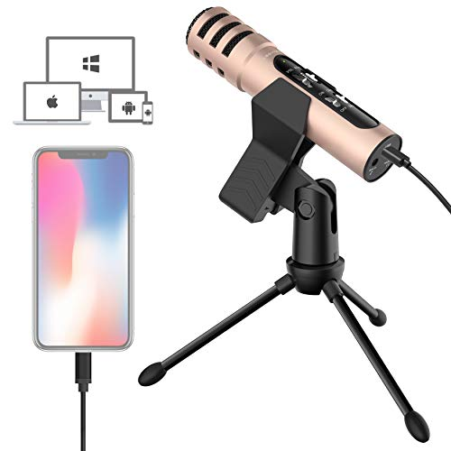 LESYAFEL Recording Microphone for iPhone with Desktop Tripod Plug&Play No Adapter Needed for Mobliephone,PS4,Mac and Windows for Live Broadcast,YouTube Video Studio