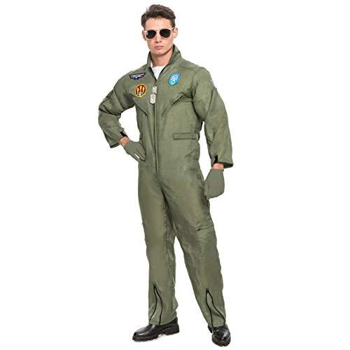 Spooktacular Creations Herren Pilot Kostüm für Erwachsene mit Zubehör für Halloween Party (Small, Green)