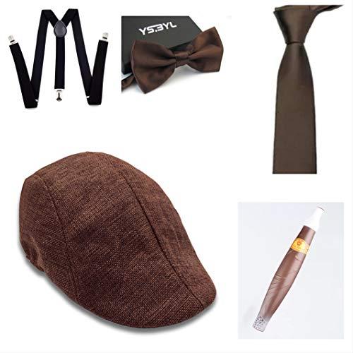 thematys Sombrero mafioso Al Capone + Pajarita + Tirantes + Corbata + Cigarro - Disfraz de los aos 20 para Dama y Caballero Carnaval (8)