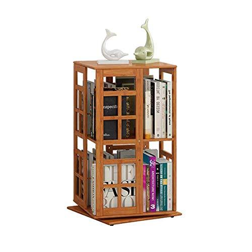 SED Estantes de Oficina, Estante de Almacenamiento en el Hogar, Estantería Almacenamiento de Libros Estantería Giratoria Tridimensional de 2 Capas Bambú Ajustable, un Soporte de Clasificación Multipr