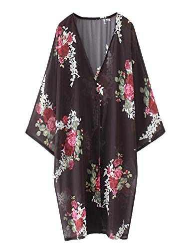 Ekrfxh Chal suelto de gasa con estampado floral para mujer, kimono para cubrir bohemio, verano, blusa casual, playa, traje de baño