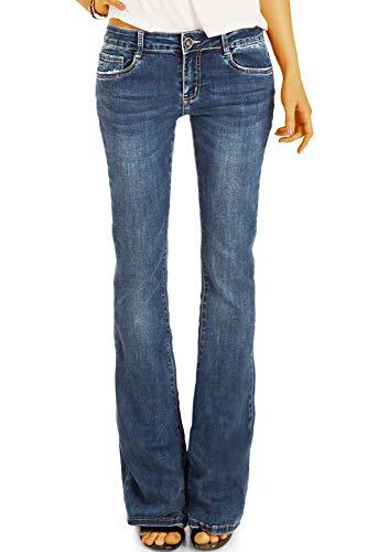 be Styled Damenjeans Medium Waist Bootcut Jeans Hose, Schlagjeans in Stretch Slim Fit Passform j16p 38/M dunkelblau