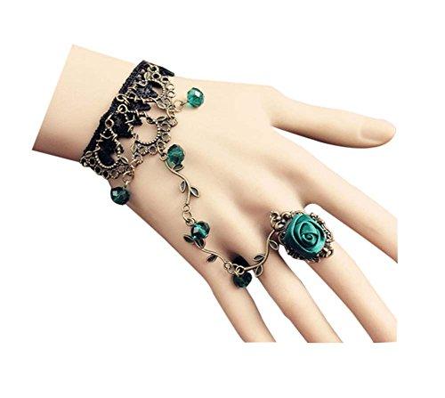 Bracelets de dentelle de fleur de poignet rétro Green Rose Rose avec anneau pour la fête, 2Pcs