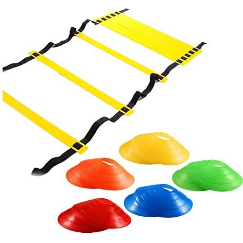 sisn Koordinationsleiter Set, Trainingsleiter Agility Leiter 3M/4M/8M und 10 Sportkegeln für mehr Fußschnelligkeit und Koordination bei Fußball(8m)