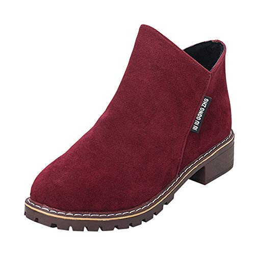Women's Ladies Sneakers,Limsea Fashion Classic Boots Ankle Short Leather Shoes 39 Wine