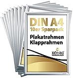 10 Plakatrahmen DIN A4   25mm Aluminium Profil, Silber   inkl. entspiegelter Schutzscheibe und Befestigungsmaterial   Alu Klapprahmen Wechselrahmen Posterrahmen   10er Sparpack   Dreifke®