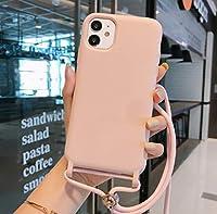 2020 可愛い 斜め掛け落下防止 外出 ネック 首掛け アイフォン スマホケース TPU iPhone12ケース iPhone 携帯カバー スマホカバー iPhoneカバー おしゃれ 滑り止め アイフォンケース 旅行 ストラップ おしゃれ プレゼント (iPhone 12/12pro, ピンク)