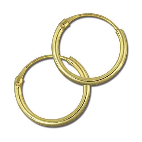 SilberDream Ohrringe Creolen 10mm Silber 333 vergoldet Simply Unisex D2SDO6510Y ein schönes Geschenk zu Weihnachten, Geburtstag, Valentinstag für die Frau, für den Mann