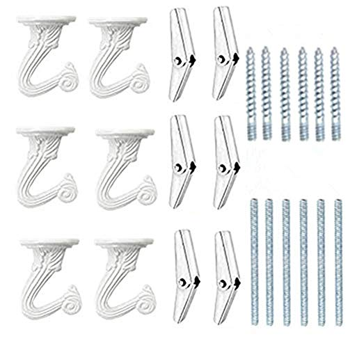 6 Sets White Ceiling Hooks for Hanging Plant, Heavy Duty Swag Toggle Hooks with Hardware
