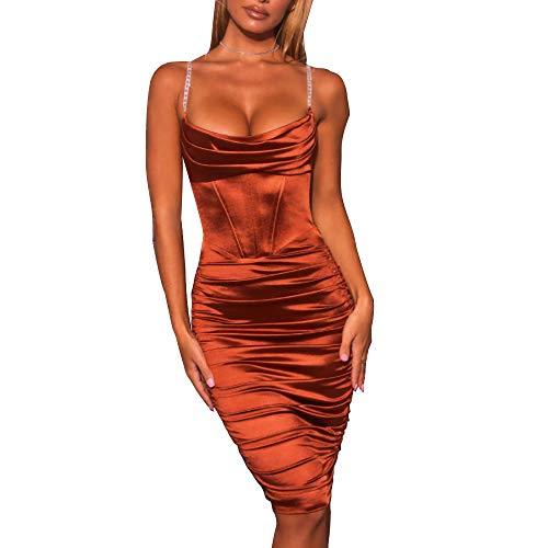 Wuloopesoy Sexy Bodycon Spaghettiträger für Damen Summer Slim Satin Rüschen Mini Club Party Kleider