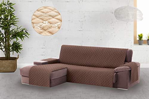 Textil-home Circus Chaise Longue SofaBezug, Schutz für Linke Arm Gesteppte Sofas. Größe -240cm. Farbe Braun (Vorderansicht)