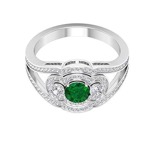 Anillo de esmeralda solitario de 5,00 mm, halo de diamante HI-SI con piedras laterales, anillo de compromiso con vástago dividido (calidad AAA), 14K Oro blanco, Size:EU 44
