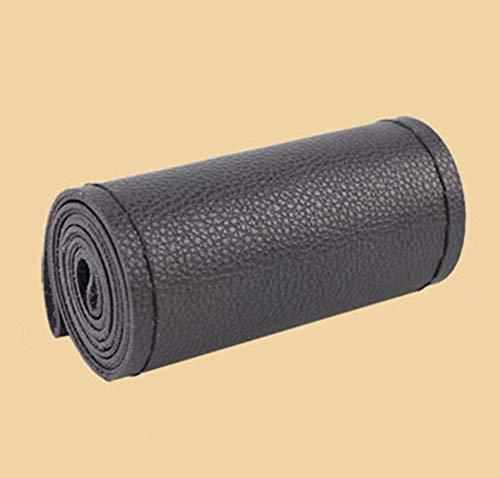 Cubiertas del volante de bricolaje hechas de cuero suave en el volante del automóvil con aguja e hilo Accesorios interiores negros