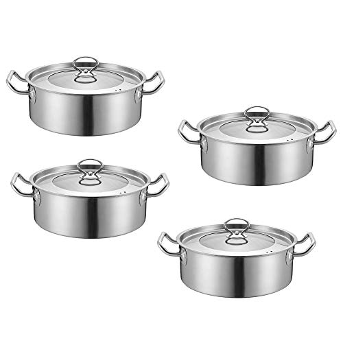 EOVL Juego de Ollas, Batería de Utensilios de Cocina de Acero Inoxidable, Conjunto de Cacerolas Antiadherentes con Tapa de Vidrio(4 Piezas) Mango cómodo, apto para cocina de inducción de gas