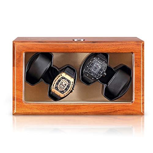 CHYOOO Caja de almacenamiento para reloj a prueba de polvo Caja de piel de pino automática, diseño antivirus mudo, funciona con pilas y adaptador de CA Caja de almacenamiento para reloj (color 4+0))