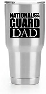 National Guard Dad Flag Vinyl Decal Sticker ( 2 Pack!!! ) | Yeti Tumbler Cup Ozark Trail RTIC Orca | Decals Only! Cup not Included! | Black | 2 - 3.5 X 2.9 inch | KCD1799