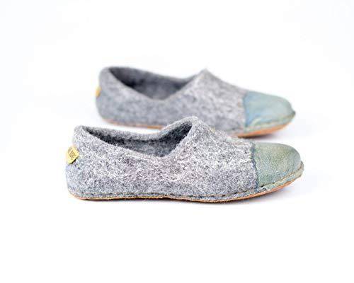 Hausschuhe Damen aus gefilzter Wolle - Pantoffeln Dame mit Schuhkappe aus Denim-Leder - Handmade in Europe
