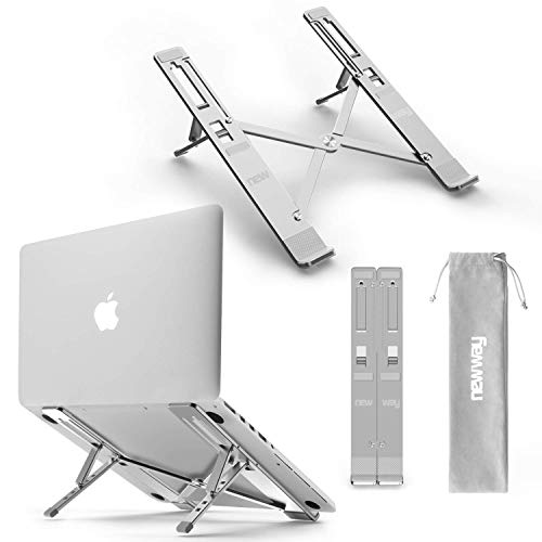 NEW WAY - Supporto per PC Portatile - Alluminio Regolabile - Raffreddatore ergonomico Leggero - Compatibile MacBook dell Lenovo ASUS HP Altri Laptop e Tablet 14 Pollici - Pattini Antiscivolo