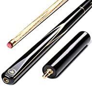√This great value, modern looking cue, features a smooth ash shaft and is ideal for both snooker and pool.Quality North American matching ash grain shaft.All black ebonised butt. Red 9.7mm Tip with brass ferrule - Selected From the Finest Leathers. 3...