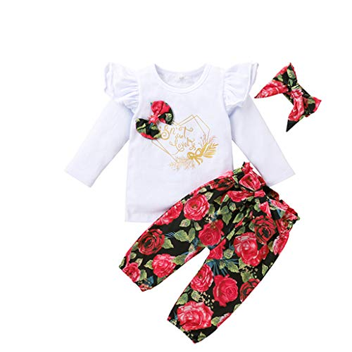 Baby Mädchen Bekleidungsset Alphabet Print Tops + Blumenhose Hosen + Bowknot Haarband Outfits Kleidung Sets, Weiß, 12-18 Monate