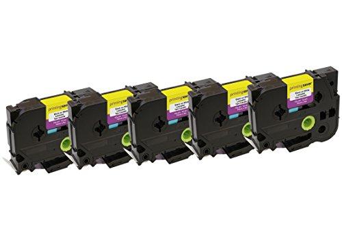 5x TZe241 TZe 241 Schwarz auf Weiß 18 mm x 8 m Schriftband-Kassetten kompatibel für Brother P-Touch PT-2030VP 2430PC 3600 9600 D400 D450VP D600VP E300VP E550WVP H300 H500 P700 P750W Beschriftungsgerät