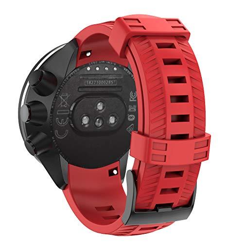 BarRan Suunto9 Fitness Horloge Zachte Siliconen Vervangende Band, 24MM, Rood