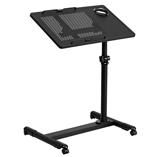 Flash Furniture Black Adjustable Height Steel Mobile Computer Desk