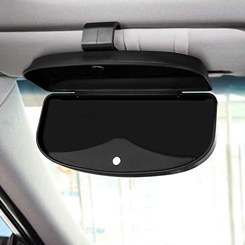 GOLRISEN Auto Brillenetui Universal Brillenhalter Auto Sonnenbrillenhalter Schwarz Sonnenbrille Brillenetui mit Magnet und Karteneinschub Brillen Aufbewahrungsbox für Sonnenbrille Auto Sonnenblende