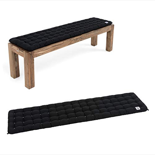 HAVE A SEAT Luxury - Bankauflage für Sitzbank, bequemes Bank Sitzpolster, waschbar bei 95°C, Pflegeleichte Sitzauflage, Made in Germany (180x40 cm, Schwarz)