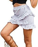 Spmor Women's Floral High Waist Ruffle Flared Boho A-Line Pleated Mini Skirt Small SkyBlue
