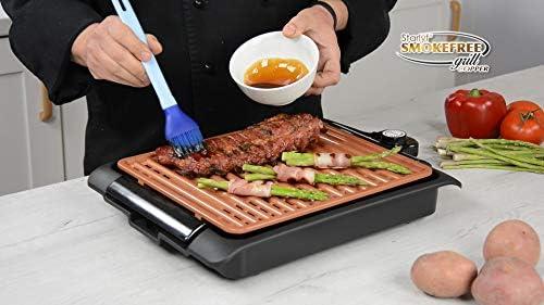 Smokefree Grill Copper sans fumée BEST DIRECT Original Comme Vu à la TV Outil de cuisine Grillades Légumes grillés Viande grillée Barbecue intérieur Surface de cuisson couleur cuivre