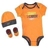Nike Baby Jungen Boys Set Bodysuit Cap Socken Schuhe 0-6 Monate Orange Schwarz
