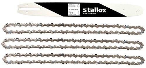 """tallox Schwert und 3 Sägeketten 3/8\"""" 1,3 mm 52 TG 35 cm Führungsschiene kompatibel mit Oregon Bosch Dollmar Hitachi Echo Einhell Makita Husqvarna und andere"""
