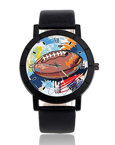 Rugby-Ball Armbanduhr Lederarmband Armbanduhr Casual Uhren für Herren