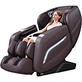 AI Voice Control Full Body Massage Chair Recliner with Stretching Function, Handrail Shortcut Key, SL Track, Zero Gravity, Bluetooth Speaker (Brown)