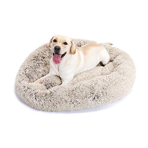 UMI. Essentials Hundebett Hundesofa Katzenbett Kuschel Kissen Weicher Plüsch Krapfen Abnehmbarer Waschbar Rundes Haustierbett für Hunde Katzen Schlaf Beige L