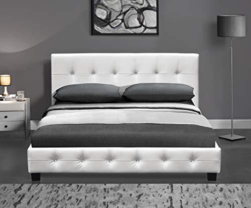 DRULINE Kalifornia Bett Komplett, Luxusbett, Hotelbett, Doppelbett Polsterbett Bettgestell Designer Bett Lattenrost Kunstlederbett Möbel Kunstlederbezug 180 x 200 cm Weiß