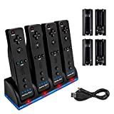 Four Charger Dock for Wii Remote, TechKen Remote Control Charger Docking Station with 4 Rechargeable Batteries from Nintendo Wii Rometo Control